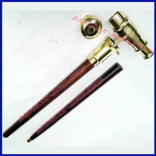 Brass Vintage Telescope Hidden Cane Folding Medieval Walking Stick Nautical A2b9 photo