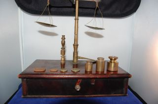 Antique Gold And Silver Scale W/wooden Box And Weights photo