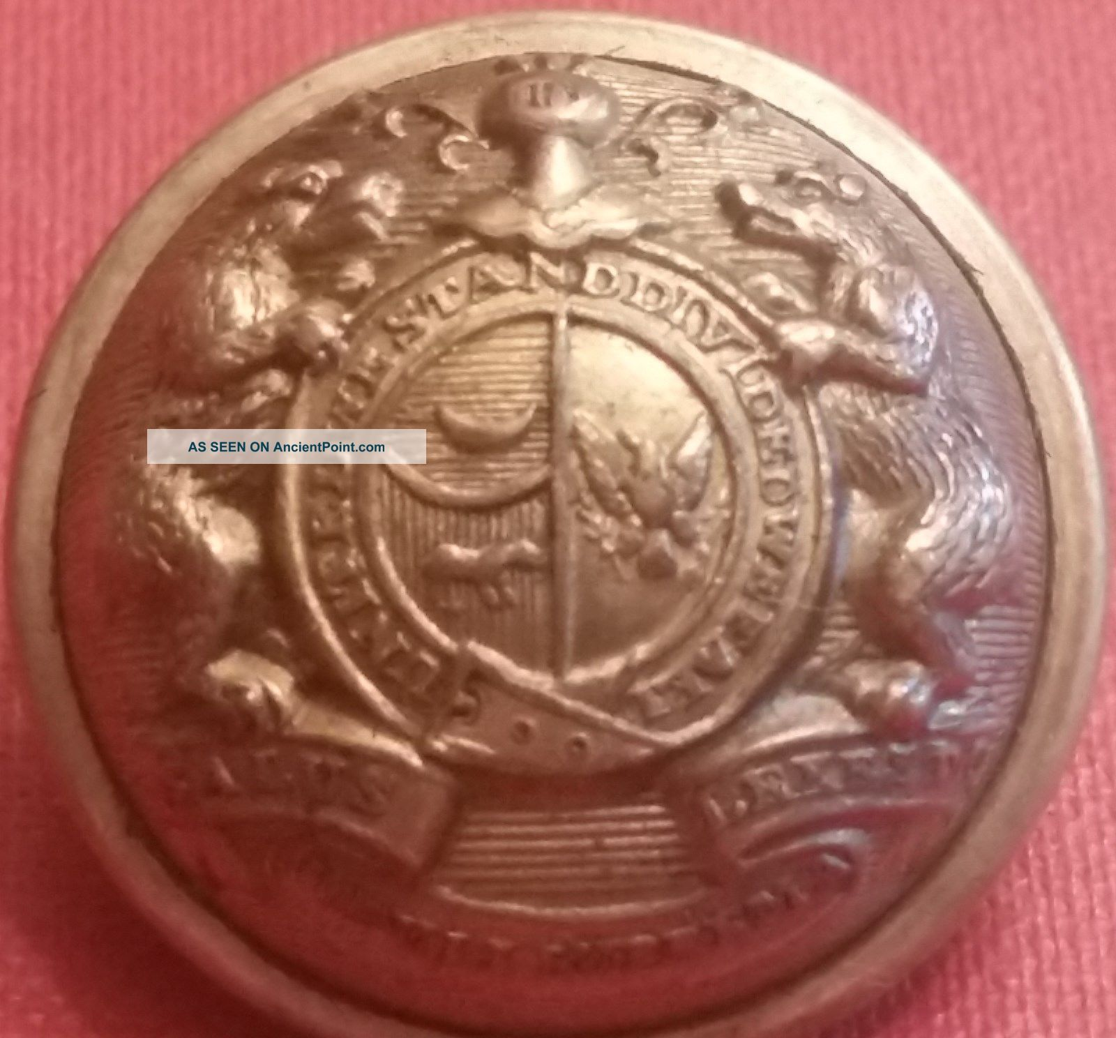 Confederate - Missouri State Seal Button - 22  5mm - Waterbury