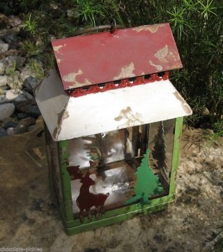 Lantern Candle Holder Deer Trees Primitive/french Country Christmas Cabin Decor photo