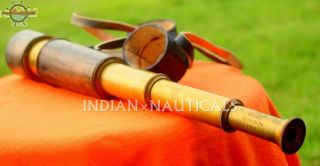 Antique Vintage Spyglass Telescope Leather Lens Cap Hand Tele Collectible Decor photo