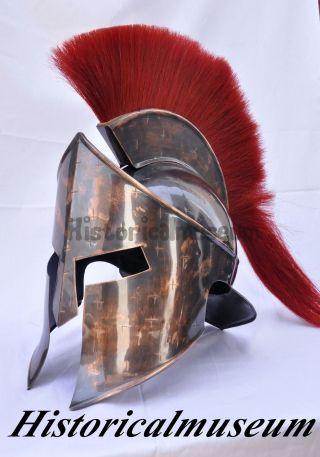 Trojan 300 Spartan Greek Troy Helmet With Armor Cap Plume Medieval Costume Kj60 photo