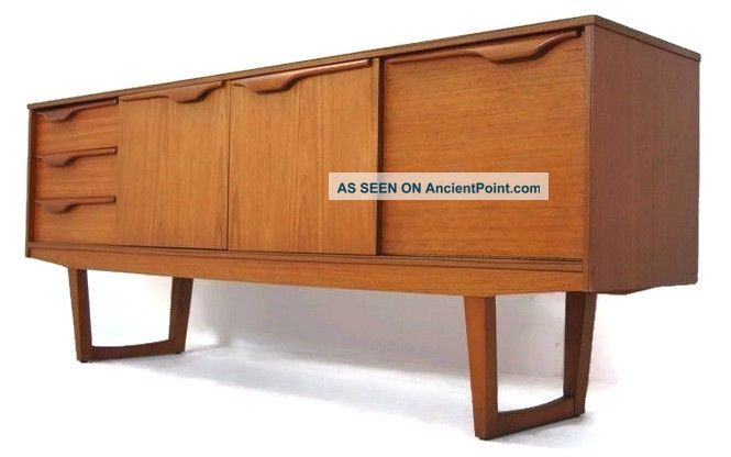 Classic Mid Century Modern Credenza With Smooth Integrated Pulls,  Mcm,  Retro Post-1950 photo