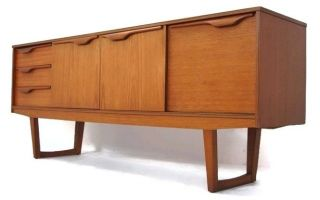 Classic Mid Century Modern Credenza With Smooth Integrated Pulls,  Mcm,  Retro photo
