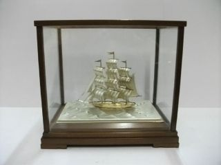 The Sailboat Of Pure Silver Of Japan.  3 Masts.  66g/2.  32