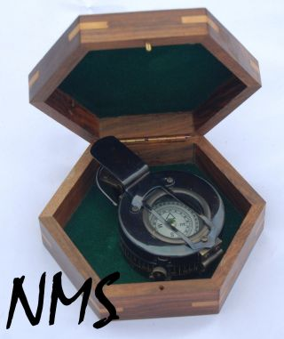 Antique Brass Army Prismatic Nautical British Ww2 Military Pocket Compass photo