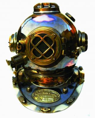 Vintage U.  S.  Navy Diving Helmet Mark V Engraved Full Size Scuba Equipment Decor photo