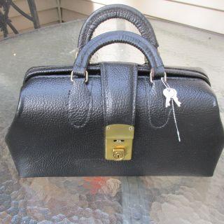 Antique Pebbled Black Leather Doctor Doctors Bag Medical Satchel photo