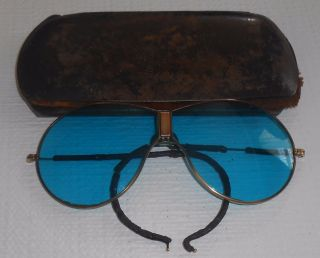 Antique Aviator Glasses Unusual Hinged Nose Piece Blue Lens Leather Ear Wrap photo
