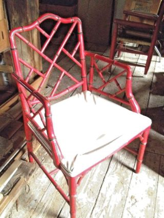 Mid Century Oriental Chinese Chippendale Lattice Back Red Armchair photo