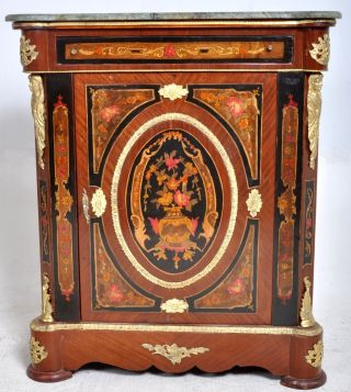 Fine Antique French Marquetry Ormolu Louis Xv Marble Top Pier Cabinet 1890 photo