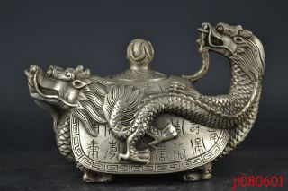 China Vintage Handwork Collectible Old Silver Plate Copper Dragon Turtle Teapot photo