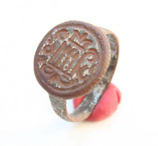 Ancient Bronze Finger Pseudo - Heraldry Seal Ring (ocr03) photo
