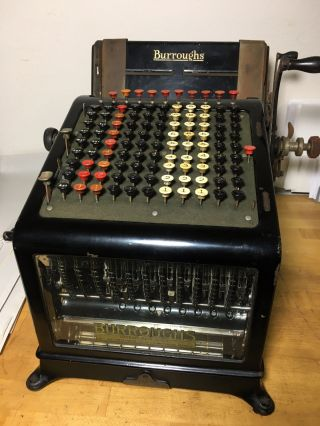 Antique Burroughs Adding Machine Calculator Typewriter Vintage photo