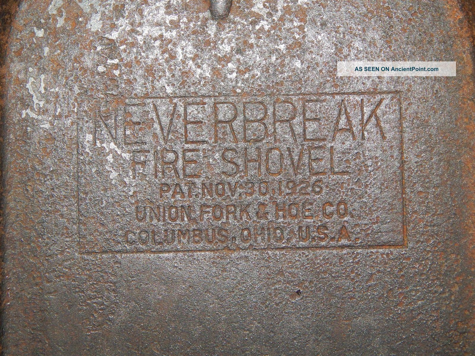 Vntg Primitive Neverbreak Pat 1926 Coal Fireplace Ash Shovel 23 1/2