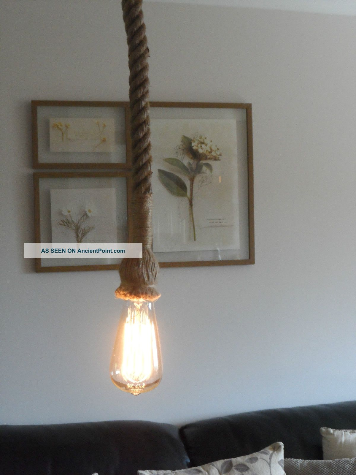 1 Mtr Jute Rope Covered 2 Core Light Flex Wire Cord Hanging Lamp Pendant Ceiling Reproduction Lamps photo