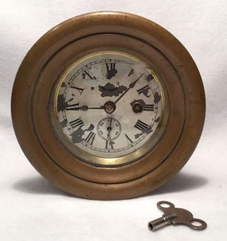 Antique 8 Day Solid Brass Nautical Or Ship ' S Wall Clock W/ Key - 6