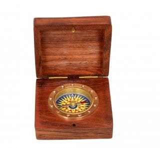 Nautical Flat Wooden Box Compass Desk Compass Nautical Marine Collectible photo
