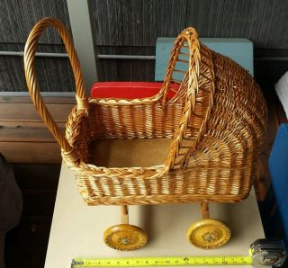 Vintage Baby Doll Carriage Stroller Wicker Wood Wooden Wheels Photography Prop photo