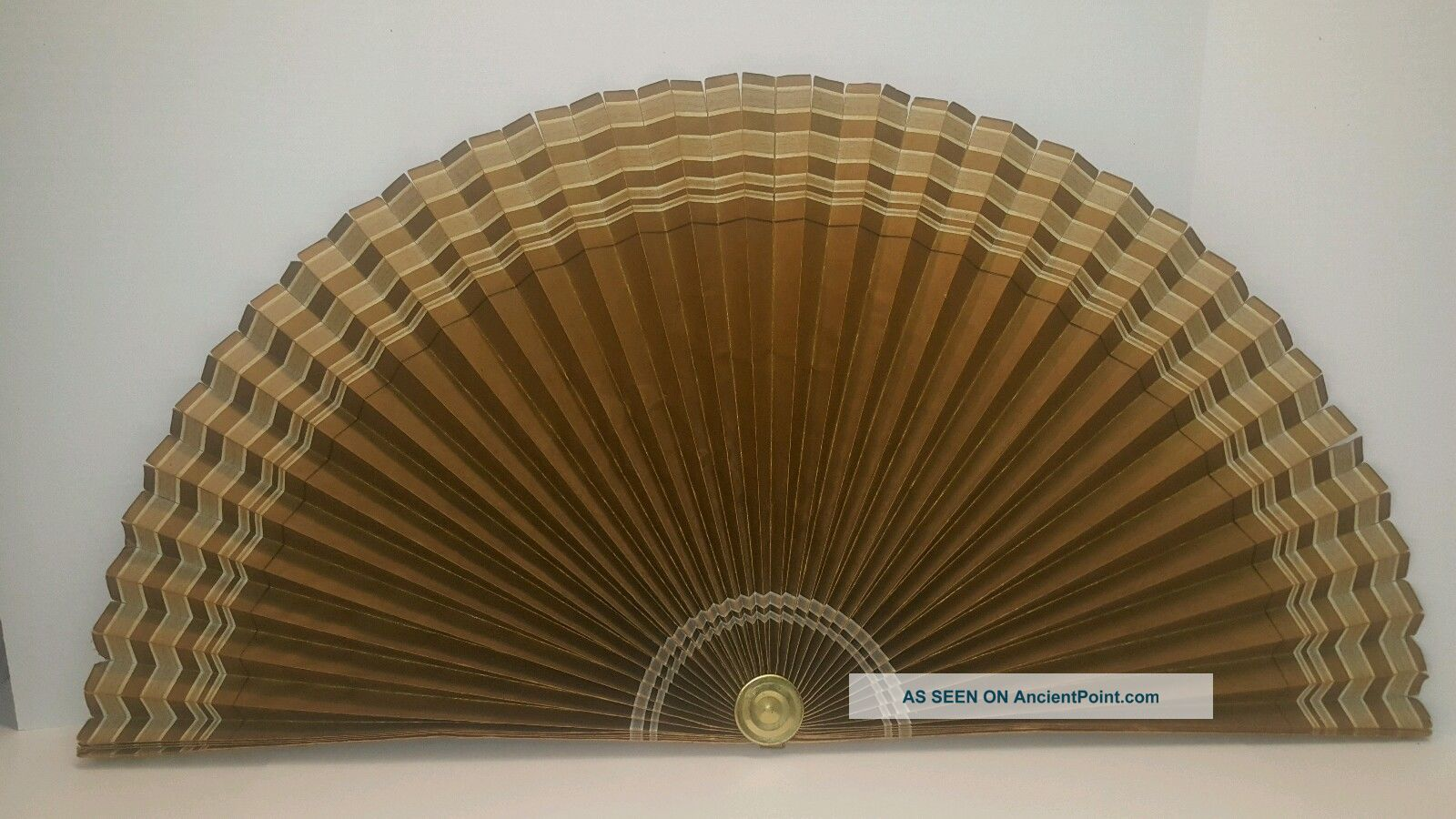 Vintage Air Line Mfg Co Paper Fireplace & Background Fan 1940's Carmen Ind.  Gold Hearth Ware photo