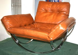 Vintage Stendig Italian Lounge Chair & Ottoman Baughman Chrome Mid Century photo