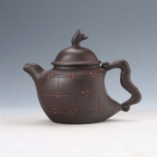 Collectable Yixing Sand - Fired Handwork Bow Shaped Handle Teapot D964 photo