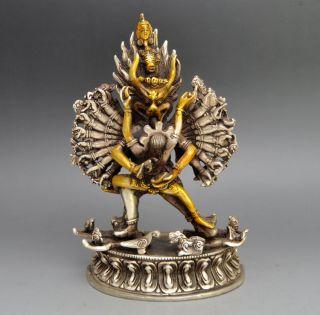 18 Cm / Collectible Old Handwork Tibet Silver Carved Yamantaka Buddha Statue photo