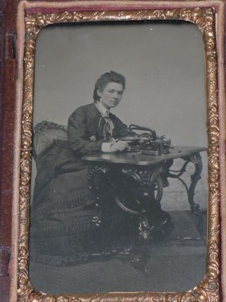 Antique 1860s Tintype Photo Woman & Fancy Leg Florence Treadle Sewing Machine photo