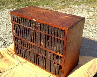 Antique Thompson Oak Case Cabinet Co.  Printers Furniture Ludington Mi Circa 1900 photo