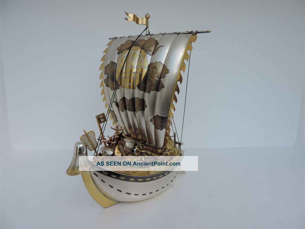 Exquisite Japanese Solid Sterling Silver Enamel Treasure Ship 297 Grams 10.  5 Oz Asia photo