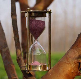 Antique Brass Vintage Hour Glass Old Nautical Timer Sand Victorian Sand Watch photo