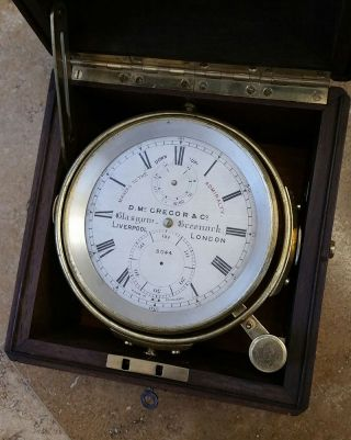 Rare Antique Mcgregor English Marine Chronometer – Up Down Indicator Ships Clock photo
