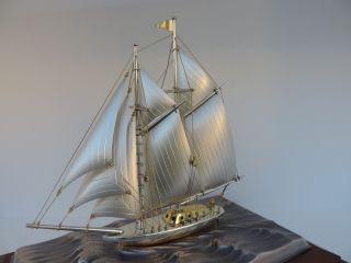 Large Vintage Masterly H - Crafted 2 Masted Japanese Sterling Silver Yacht Ship photo