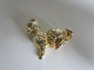 Sterling Silver Gilt Cat Miniature.  Hallmarked London 1978. photo