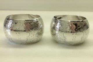 Solid Silver Victorian Matched Pair Napkin Rings Birmingham 1891. photo