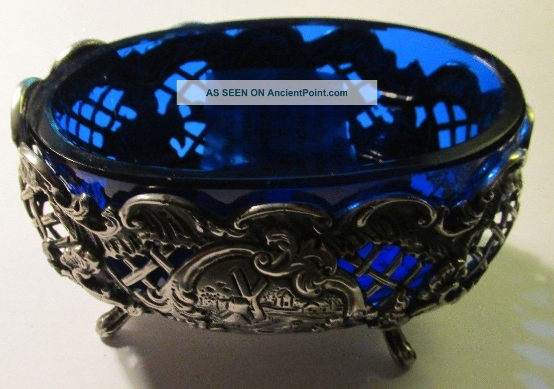 Stunning Dutch Sterling Silver And Cobalt Glass Master Salt Bowl/spoon C1899 Other Antique Non-U.S. Silver photo