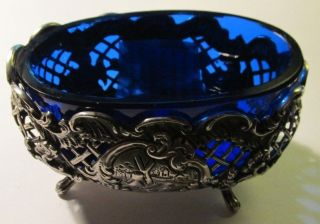 Stunning Dutch Sterling Silver And Cobalt Glass Master Salt Bowl/spoon C1899 photo