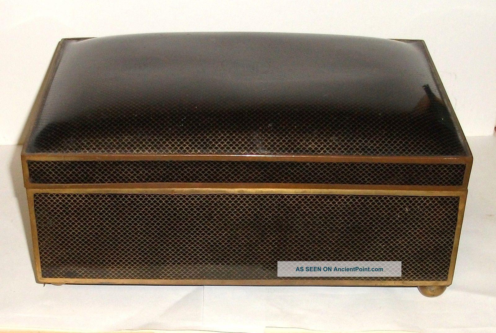 Huge Cloisonne Black Enamel Humidor Trunk Box Boxes photo