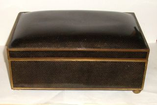 Huge Cloisonne Black Enamel Humidor Trunk Box photo