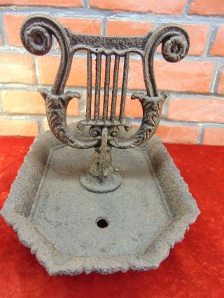 Antique 1800s Victorian Cast Iron Lyre Boot Scraper Primitive 19 Century Garden photo