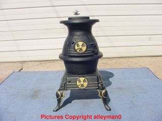 Antique Vintage Sears 119 - 58 Cast Iron Pot Belly Stove L@@k photo