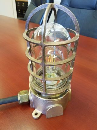 Polished Cast Brass Lamp Light From The Uss Flint photo