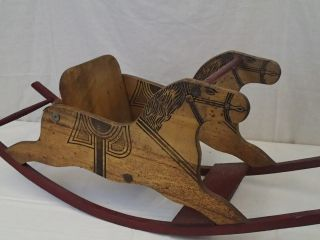 Antique Wooden Rocking Horse Early Primitive 1920 ' S photo