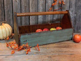 Primitive Vintage Old Wood Carpenter Tool Box Carrier Garden Tote Teal Green photo