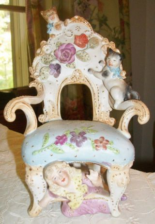 Enchanting Heubach Bisque Figurine Of Girl Playing With Kittens On Chair German photo