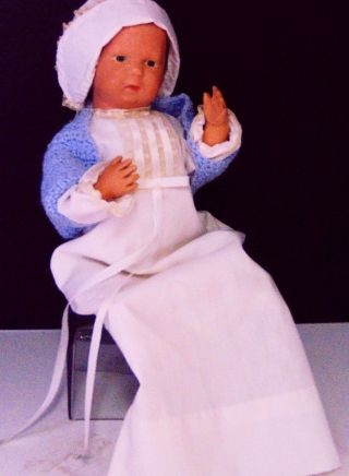 Wood Doll Schoenut Antique Vtg Boy Signed Baby Nursery Home Deco Collect Figure photo