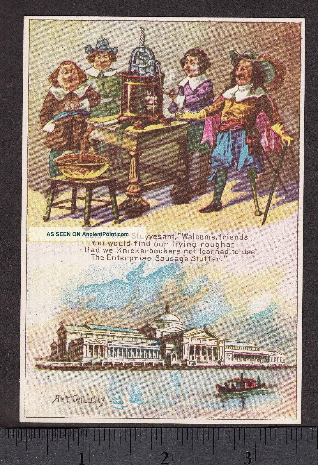 Antique C.  1893 Enterprise Sausage Stuffer Meat Grinder Chicago Worlds Fair Card Meat Grinders photo