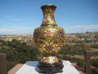 Vintage Chinese Gild Cloisonne Flowers Design Vase 12