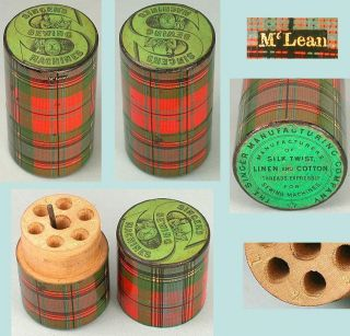 Antique Mclean Tartan Ware Singer Sewing Machine Needle Case Circa 1880 photo