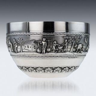 Antique 20thc Indian Solid Silver Repousse ' Bowl,  Calcutta C.  1900 photo